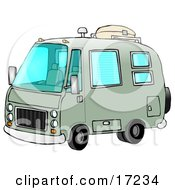 Green Rv Motorhome Ready For Camping Use Clip Art Illustration