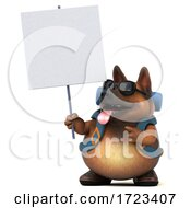 Poster, Art Print Of 3d German Shepherd Dog Hiker On A White Background
