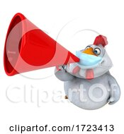 3d White Chicken Wearing A Mask On A White Background