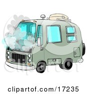 Broken Down Green Rv Motorhome Pulled Over On The Side Of The Road With Smoke Coming Out Of The Engine Compartment Clip Art Illustration