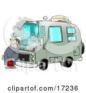 Confused Male Mechanic Scratching His Head While Standing In Front Of A Broken Down Green Rv With Smoke Rising From Under The Engine Hood