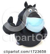 3d Black Horse Wearing A Mask On A White Background by Julos