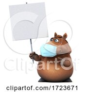 3d Brown Horse Wearing A Mask On A White Background
