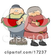 Caucasian Boy Or Man Eating A Juicy Red Slice Of Watermelon With His Sister Friend Or Wife On A Hot Summer Day Clip Art Illustration