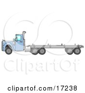 Blue Big Rig Diesel Tractor Trailer Truck With A Flat Bed In Profile Driving To The Left Clip Art Illustration