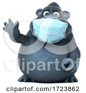 3d Gorilla Wearing A Mask On A White Background