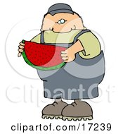 Caucasian Boy Or Man In Overalls Eating A Juicy Red Slice Of Watermelon On A Hot Summer Day