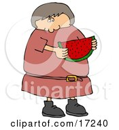 Caucasian Girl Or Woman In In Pink Dress Eating A Juicy Red Slice Of Watermelon On A Hot Summer Day