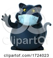 3d Black Cat Wearing A Mask On A White Background