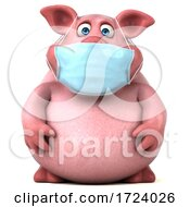 3d Chubby Pig Wearing A Mask On A White Background