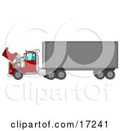 Caucasian Mechanic Man In Coveralls And A Red Hat Working On The Engine Of A Big Red 18 Wheeler Semi Truck Clipart Illustration