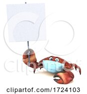 3d Crab Wearing A Mask On A White Background