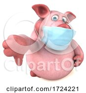 Poster, Art Print Of 3d Chubby Pig Wearing A Mask On A White Background