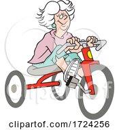 Cartoon Old Woman Riding A Trike