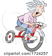 Cartoon Excited Old Lady Riding A Trike
