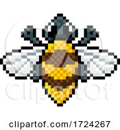 Bumble Bee Bug Insect Pixel Art Video Game Icon