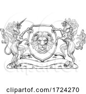 Crest Coat Of Arms Horse Unicorn Lion Shield Seal