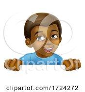 Poster, Art Print Of Happy Black Little Boy Cartoon Child Kid Sign