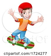Boy Kid Child On Skateboard Skateboarding Cartoon by AtStockIllustration