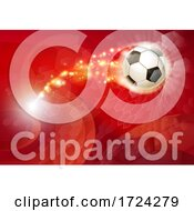 Poster, Art Print Of Soccer Football Ball Abstract Red Background