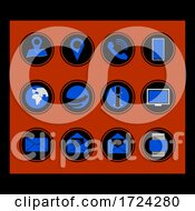 Blue And Black Icon Set Web Card Business
