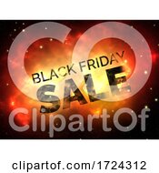 3D Black Friday Space Scene Background