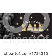 Black Friday Banner With Gold Stars And Balloons