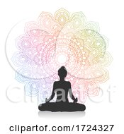Silhouette Of Female In Yoga Pose Against Mandala Design
