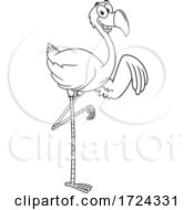 Poster, Art Print Of Black And White Pink Flamingo Waving