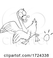 Poster, Art Print Of Black And White Goose Laying An Egg