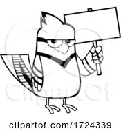 Poster, Art Print Of Black And White Blue Jay Bird Holding A Sign