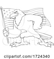 Black And White Bald Eagle Holding An American Flag