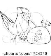 Poster, Art Print Of Black And White Rich Goldfish With A Money Bag