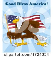 Bald Eagle Holding An American Flag With God Bless America Text