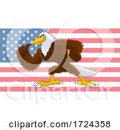 Muscular Bald Eagle Over A USA Flag