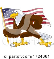 Poster, Art Print Of Bald Eagle Holding An American Flag