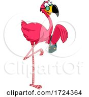 Poster, Art Print Of Female Pink Flamingo With A Purse