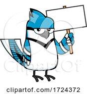 Poster, Art Print Of Blue Jay Bird Holding A Sign