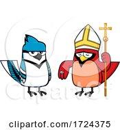 Cardinal Bird And Blue Jay