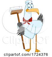 Poster, Art Print Of Sailor Seagull With A Cleaning Brush Or Broom