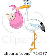 Poster, Art Print Of Stork With A Bundled Baby