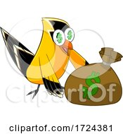 Poster, Art Print Of Rich Goldfish With A Money Bag