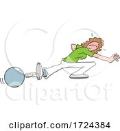 Cartoon Woman Trying To Escape From A Ball And Chain