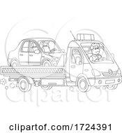 Man Towing A Car