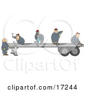 Group Of Worker Men In Blue Coveralls Using Tools To Fix Or Build A Trailer For A Big Rig Clipart Illustration