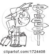 Cartoon Black And White Happy Traveling Boy