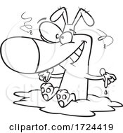 Poster, Art Print Of Cartoon Black And White Filthy Dog Sitting In Mud