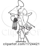 Cartoon Black And White Happy Woman Ready To Do Fall Or Spring Cleaning