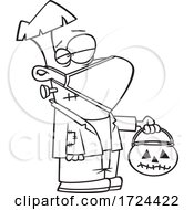 Cartoon Black And White Covid Halloween Frankenstein Wearing A Mask And Trick Or Treating