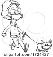 Cartoon Black And White Lady And Dog Wearing Masks And Taking A Walk